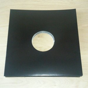 Cardboard LP cover black with centre hole - 10 pieces