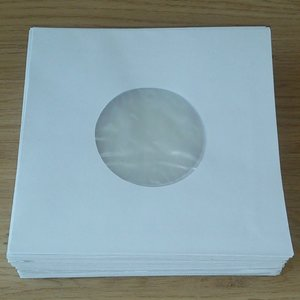 "White Paper Sleeves with inner foil for 7"" Vinylsingles - 100 pieces"